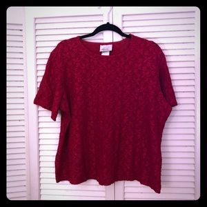 👒NEW👒VTG red floral lace stretchy blouse